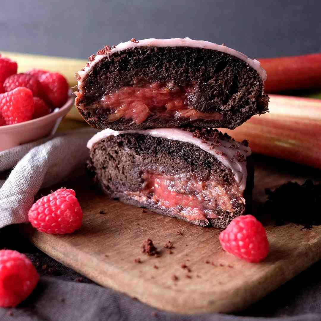 Rhubarb Raspberry Crosstown Doughnut