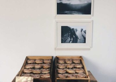 Vanilla Doughnuts in wooden boxes