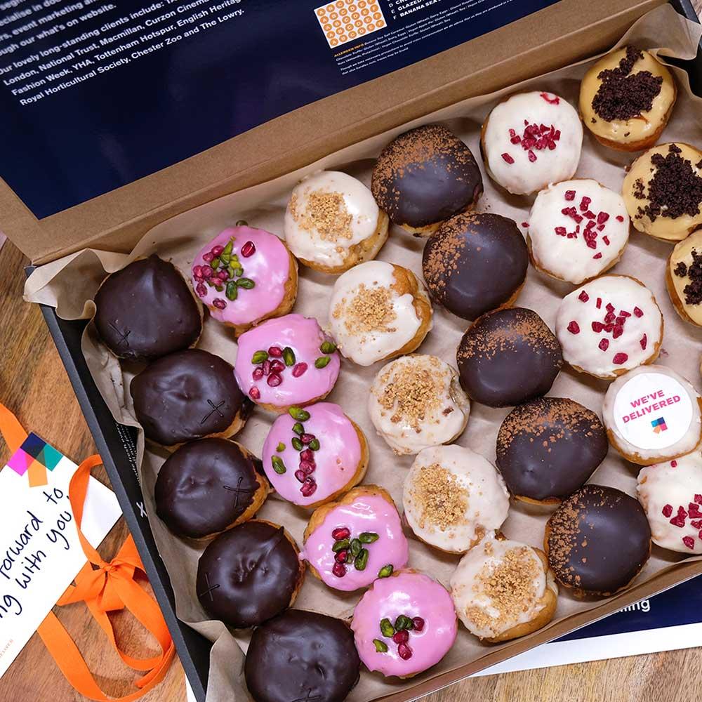 Mini Doughnuts in a box for a company event