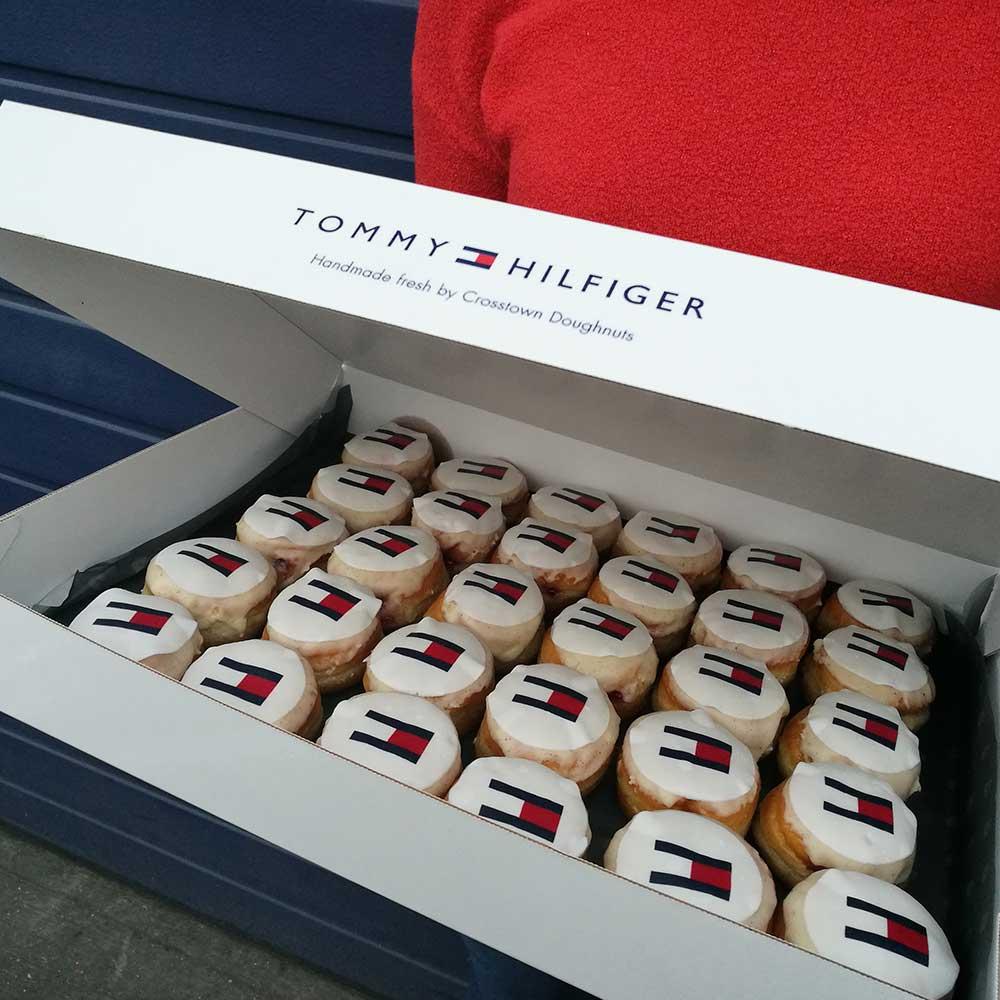 Tommy Hilfiger branded doughnuts in a custom box