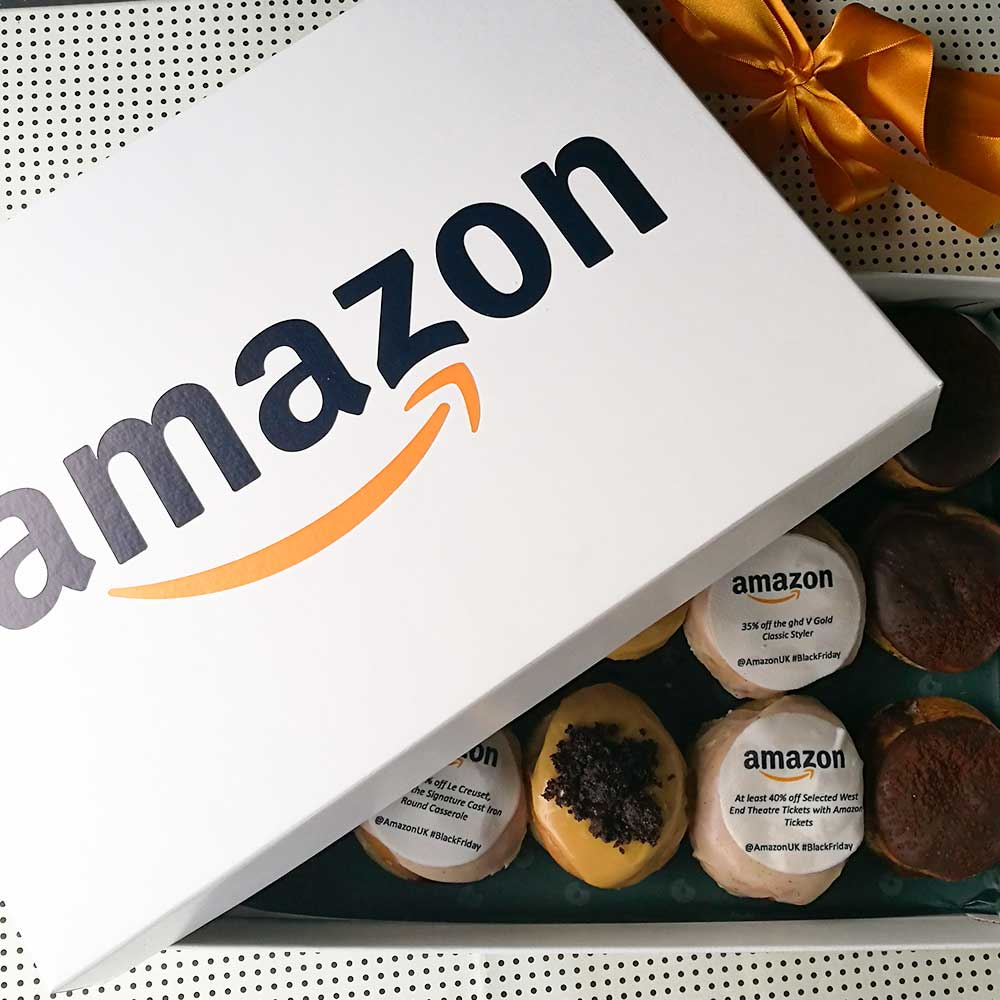Amazon branded doughnuts with discounts iced on