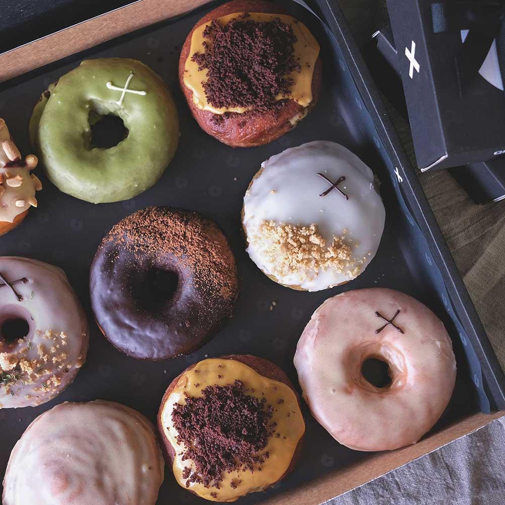 Colourful Doughnut Selection in a box